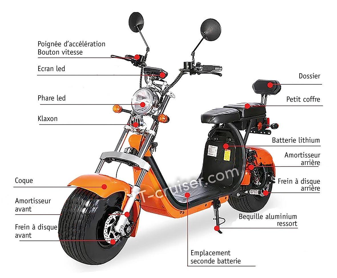 Scooter 100% électrique city coco t cruiser cp2XX
